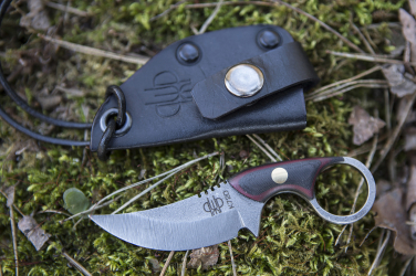 KNIFE SULTAN MICARTA BLACK-MAROON BRASS+LEATHER BLACK PRUCIAK