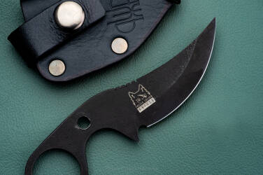 NECK, EDC KNIFE SUŁTAN+ OXIDIZED K720  BLACK LEATHER SHEATH PRUCIAK